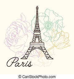 Eifel Tower Paris In Vintage Style With Beautiful, Romantic...