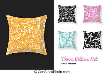 Set Of Throw Pillows In Matching Unique Floral Seamless...