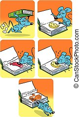 comic cartoon with a mouse - The illustration shows comic...