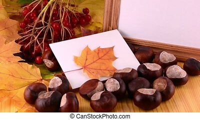Autumn leaves, maple, viburnum, pine cone, acorn and nut on wooden texture background with empty copy space on photo frame