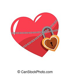 love glossy heart pink lock chain