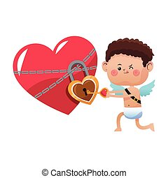 cute little cupid valentine day opened heart lock