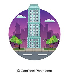 building city downtown night view stamp vector illustration...
