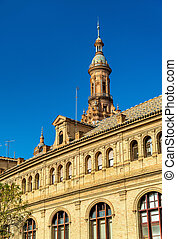 Main building of Plaza de Espana, an architecture complex in Seville - Spain