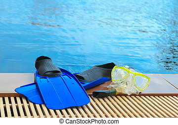 Scuba diving and snorkelling. Flippers, mask, snorkel on...