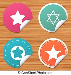 Star of David icons. Symbol of Israel. - Round stickers or...