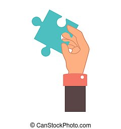 hand human with puzzle pieces game icon
