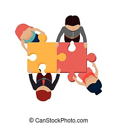 people with puzzle pieces game icon