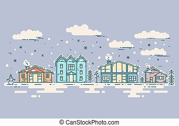 Winter Cityscape. Vector vintage Christmas card.