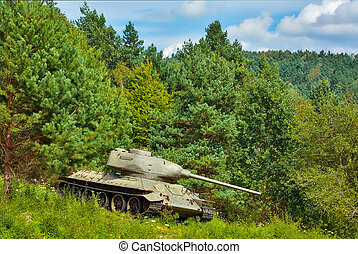 Tank in the Forest - Tank of World War 2 in the Forest