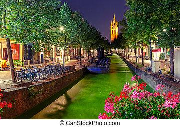 Night canal, Oude Kerk church, Delft, Netherlands - Oude...