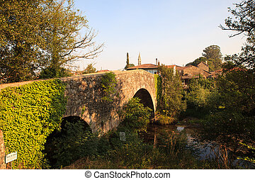 Mediaeval bridge in Furelos - View of the Mediaeval bridge...