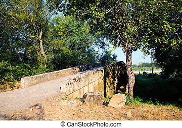 View of the Mediaeval bridge in Spain