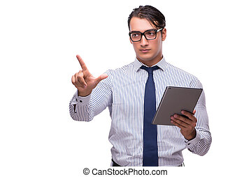 Businessman using his tablet computer isolated on white