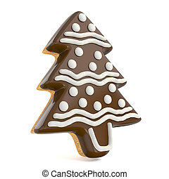 Chocolate Christmas gingerbread tree decorated with white...