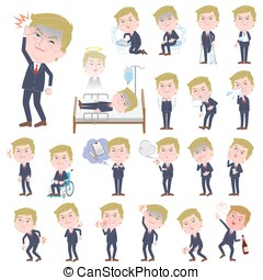 Blond hair suit style Old man sickness - Set of various...