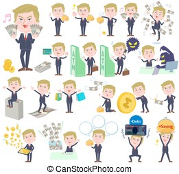 Blond hair suit style Old man money - Set of various poses...