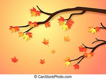 Autumnal forest with falling maple leaves.