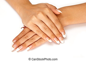 Nail manicure - Girls hands with perfect nail manicure on...