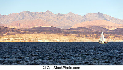 Sailboat Rides Wind Lake Mead Recreation Area Boaters Sail -...
