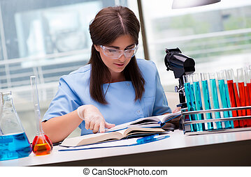 Young woman working in the laboratory