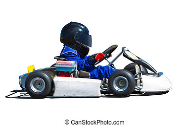 Young kid racing a go cart around a track. Panned to show...