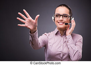 Helpdesk operator in communication concept