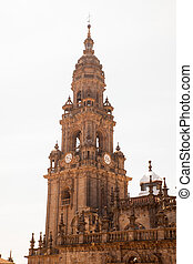 View of the belltower of the Santiago cathedral, called...