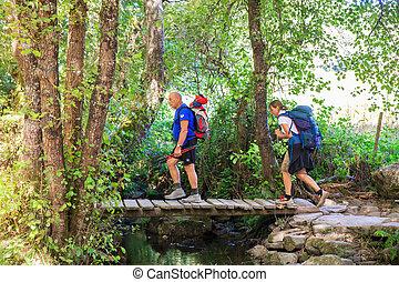 Hikers crossing foot bridge - Two pilgrimns crossing foot...