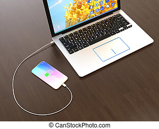 Smartphone charging from laptop computer