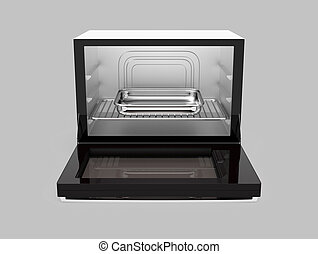 Front view of open microwave oven isolated on gray...