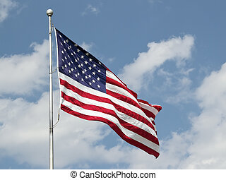 USA Flag - Large flag of the United States of America flying...