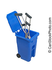 Recycled Crutches - Crutches in a recycle bin used to hold...