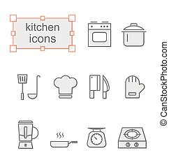 Thin line icons set, Kitchen - Thin line icons set, Linear...