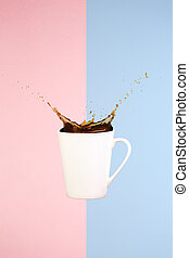 Coffee concept. Minimal art. Solid background. Coffee...