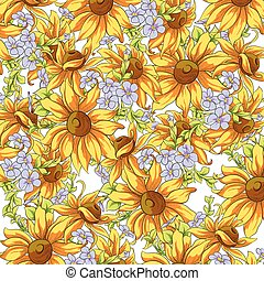 Bright background of sunflowers and forget-me for a good...