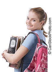 Caucasian college student with backpack copybooks