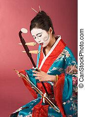geisha, kimono, erhu
