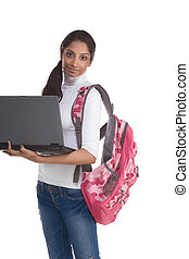 ethnic Indian College student with laptop PC - education...