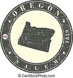Vintage stamp with map of Oregon.