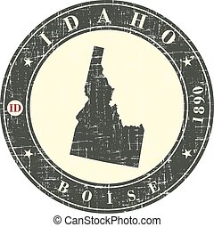 Vintage stamp with map of Idaho