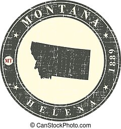 Vintage stamp with map of Montana