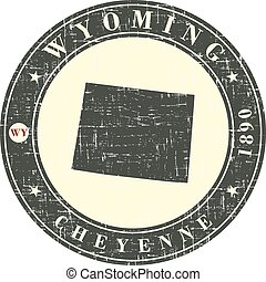 Vintage stamp with map of Wyoming