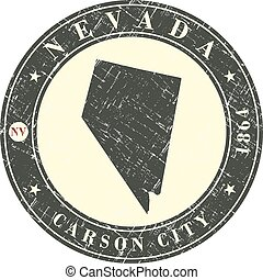 Vintage stamp with map of Nevada
