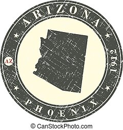 Vintage stamp with map of Arizona