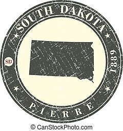 Vintage stamp with map of South Dakota