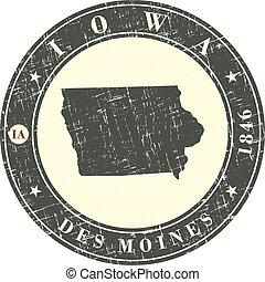 Vintage stamp with map of Iowa