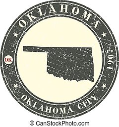 Vintage stamp with map of Oklahoma