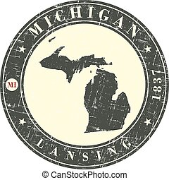 Vintage stamp with map of Michigan
