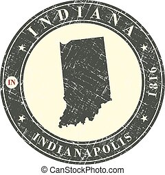 Vintage stamp with map of Indiana